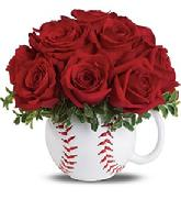 You're sure to score a home run with Mom when you give her red roses in an amazingly realistic baseball mug she'll use for years.