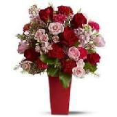 An abundant arrangement of roses and fresh flowers for the love of your life. $90