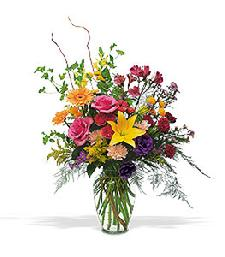 Large fresh arrangement of ixed bright flowers to thank Mom for all she has done. From Lana's Flowers in Clinton Arkansas